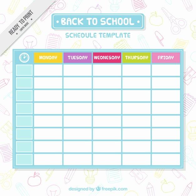 Cute Class Schedule Maker Unique Simple School Schedule Template Vector