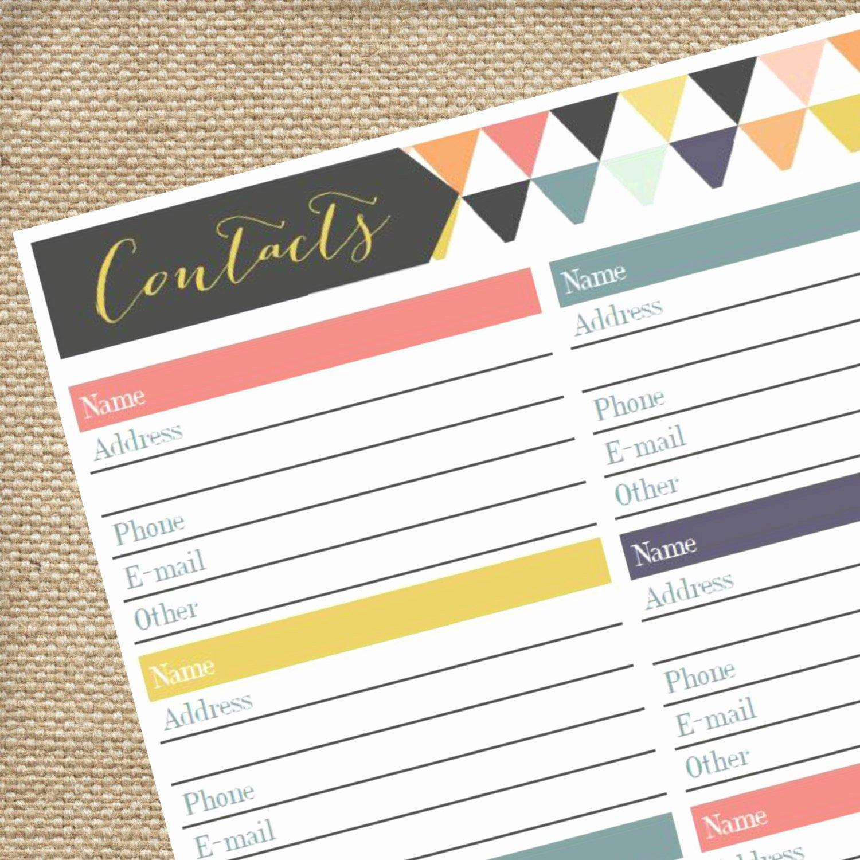 Cute Printable Address Book Elegant Printable Address Book Pdf Contact Tracker by