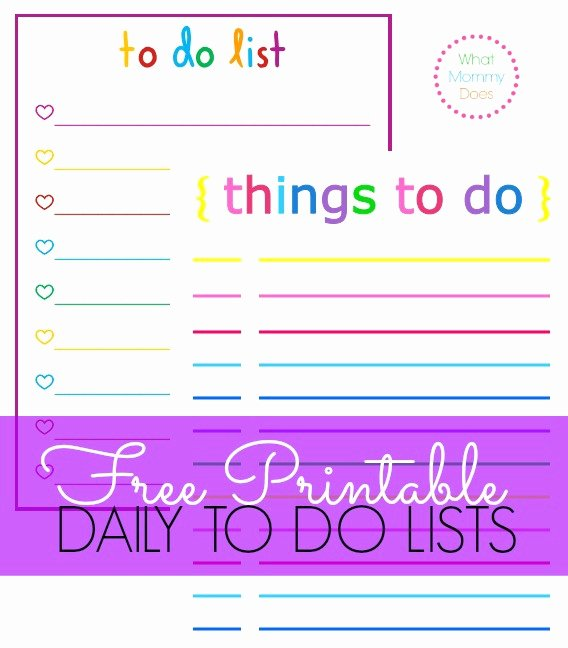 Cute to Do List Template Inspirational Free Printable to Do Lists – Cute & Colorful Templates