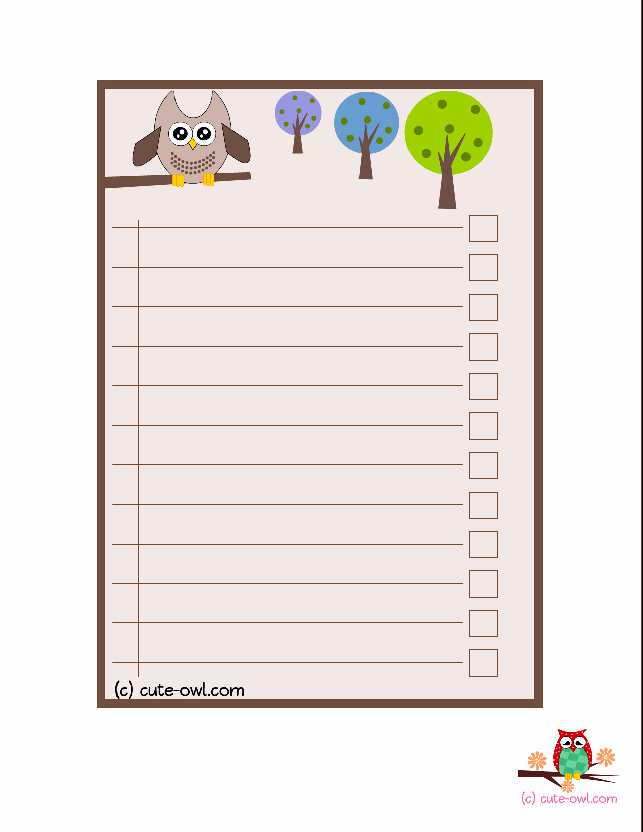 Cute to Do List Template Lovely 4 Cute Owl to Do Lists for the Love Of Owls