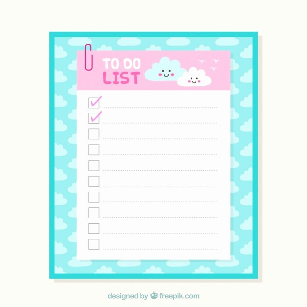 Cute to Do List Template Luxury Cute Checklist Template with Clouds In Flat Design Vector