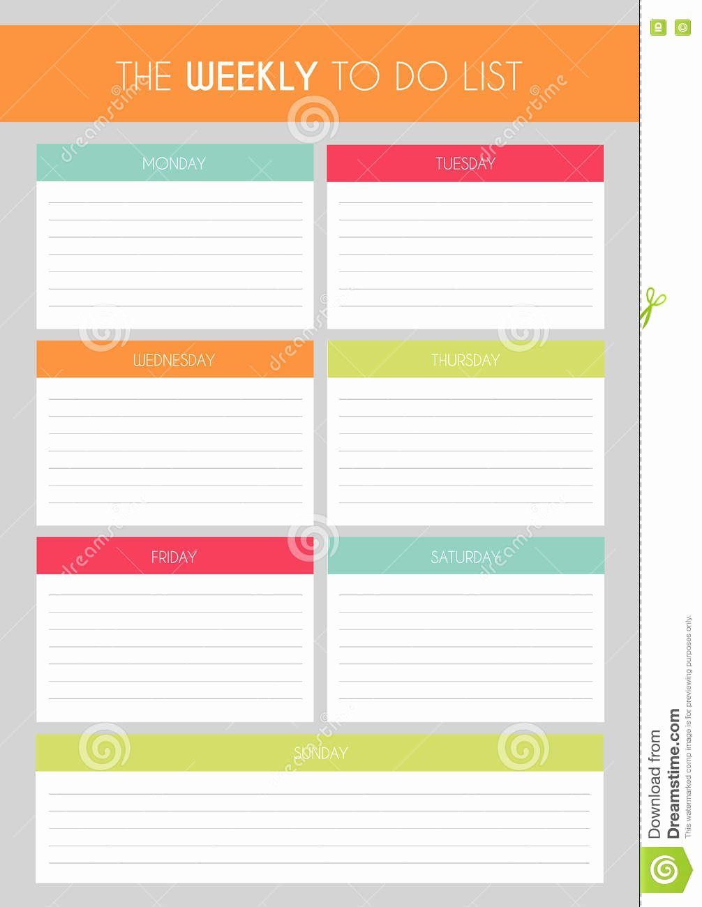 Cute to Do List Template Word New Template Simple Colorful the Weekly to Do List Stock