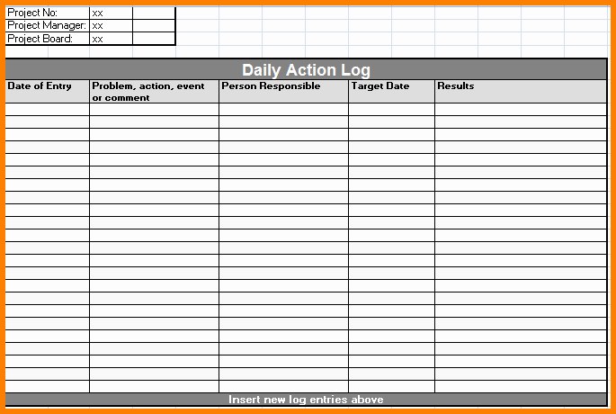 Daily Activity Log Template Excel Best Of Daily Log Sheet format Pertamini