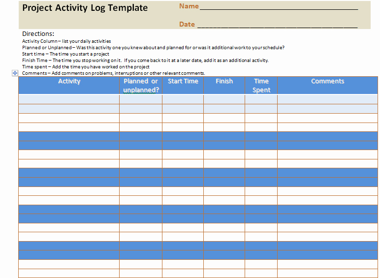 Daily Activity Log Template Excel Best Of Project Activity Log Excel Template Project Management