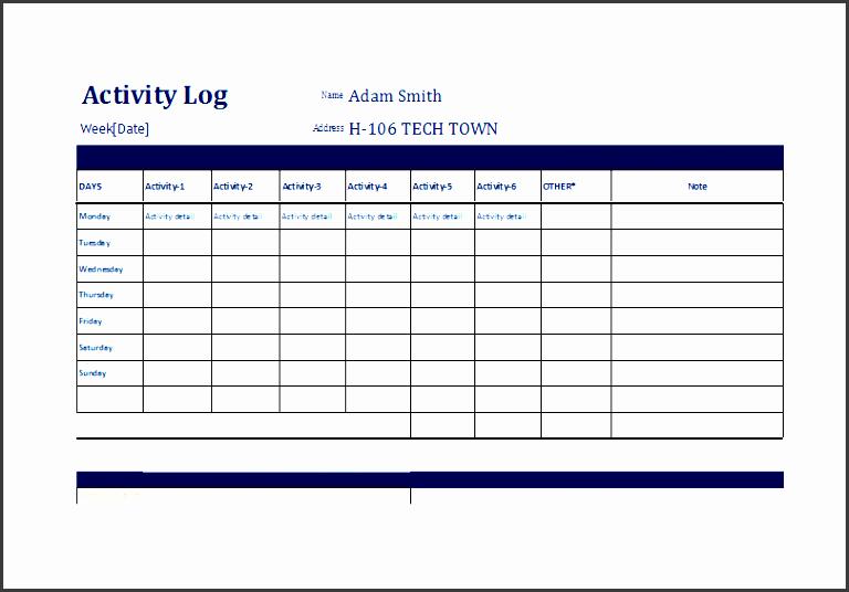 Daily Activity Log Template Excel Fresh 10 Editable Work Log Template Sampletemplatess