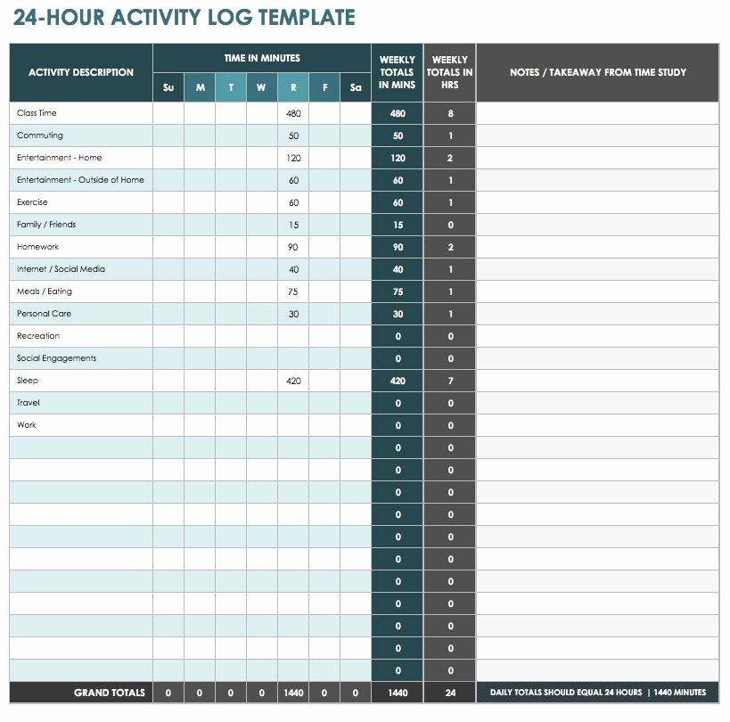Daily Activity Log Template Excel Luxury 28 Free Time Management Worksheets