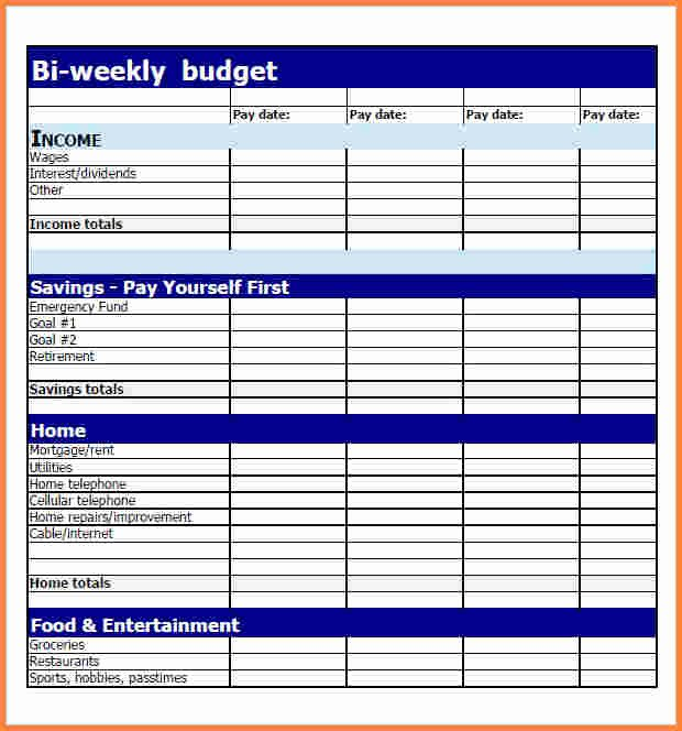 Daily Budget Template Excel Awesome 3 Bi Weekly Bud Spreadsheet