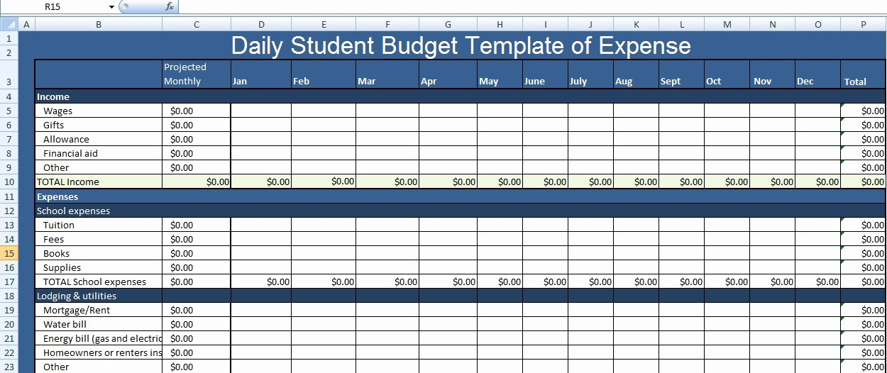 Daily Budget Template Excel Lovely Daily Student Bud Template Of Expense Xls Free Excel