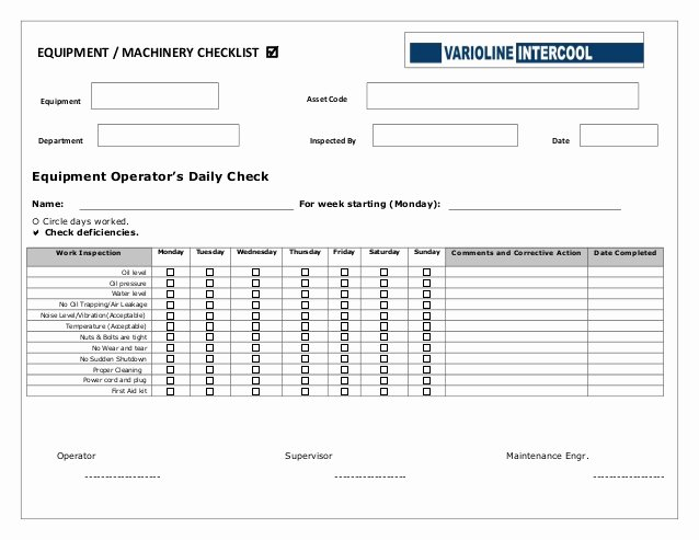 Daily Equipment Inspection form Fresh Equipment Operators Daily Checklist