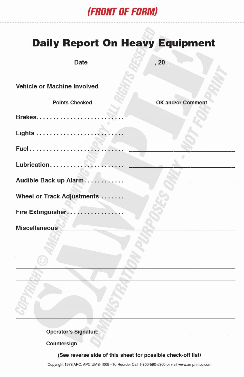 Daily Equipment Inspection form Lovely Heavy Equipment Inspection Checklist
