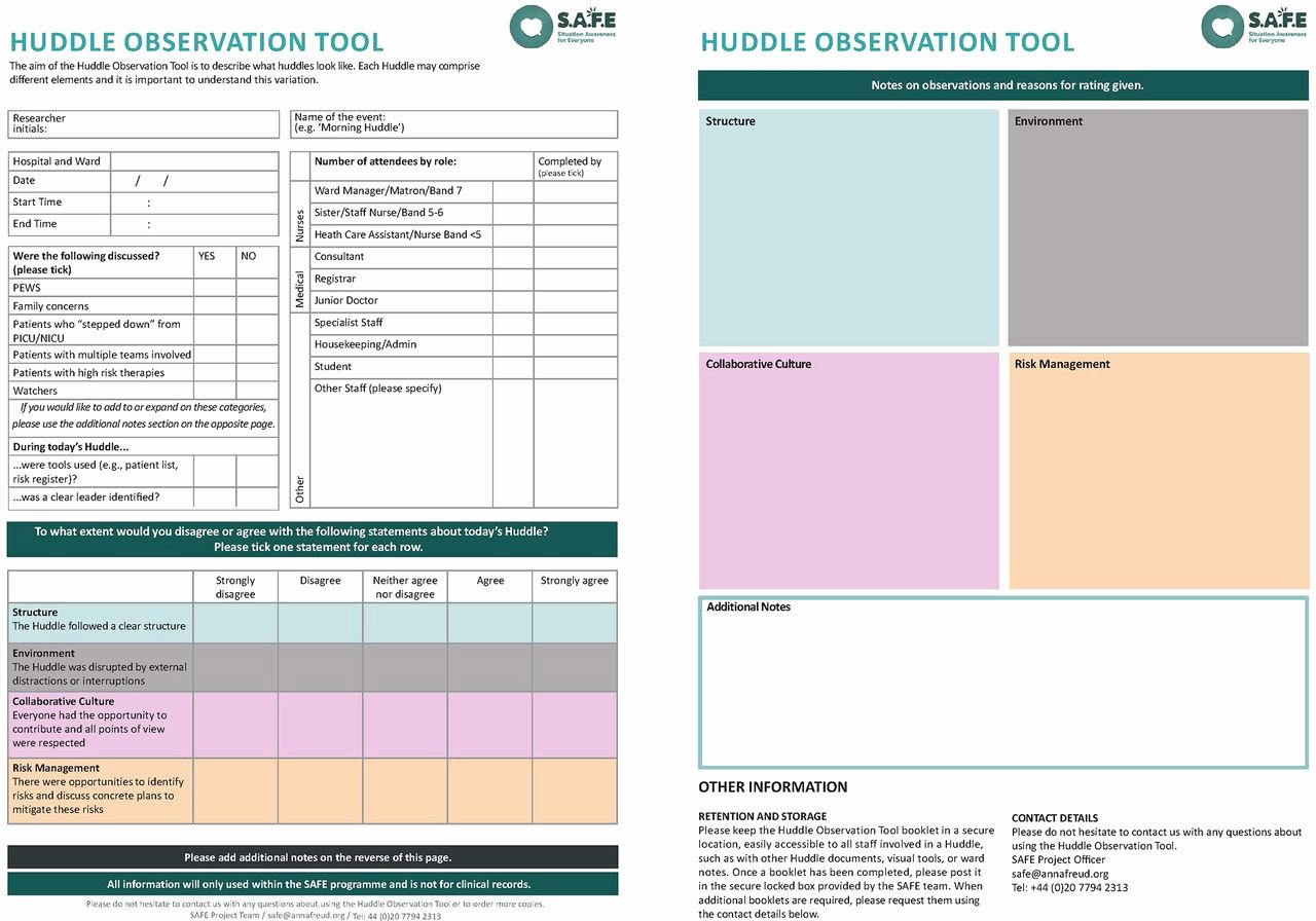 Daily Huddle Template Luxury Development Of the Huddle Observation tool for Structured