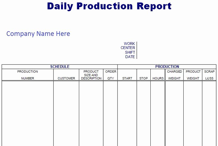 Daily Production Report Template Excel Lovely Daily Scheduling Production Report Spreadsheet format