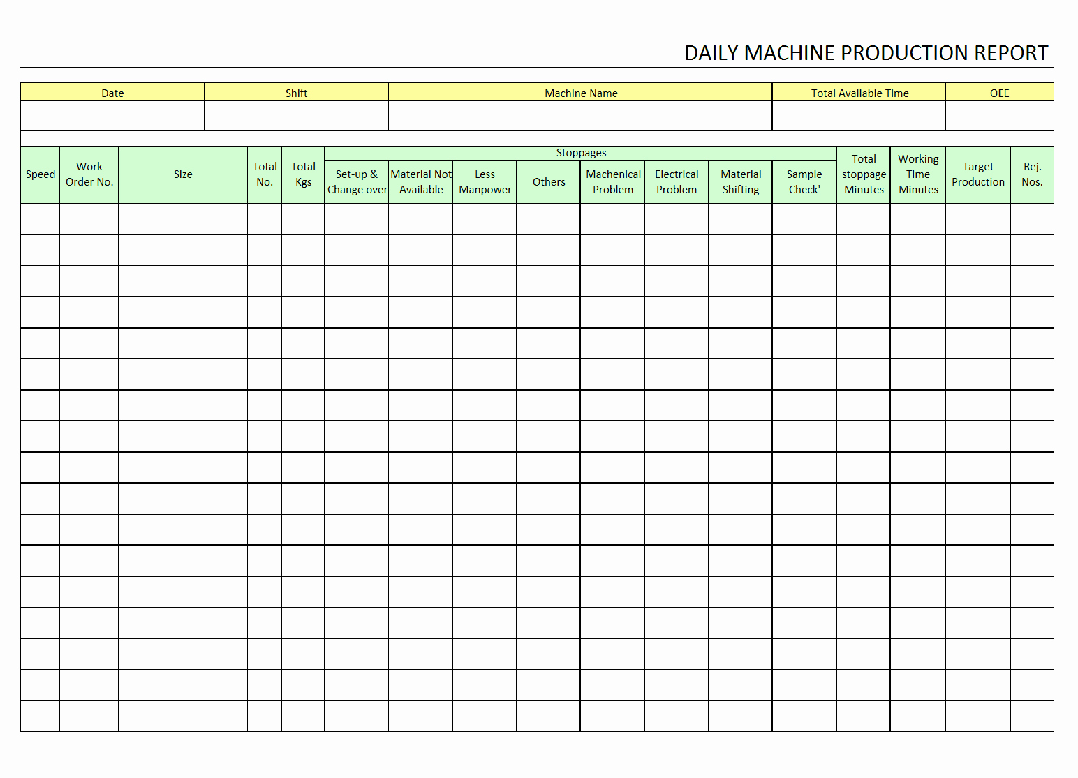 Daily Production Report Template Excel New Daily Machine Production Report format Excel Pdf
