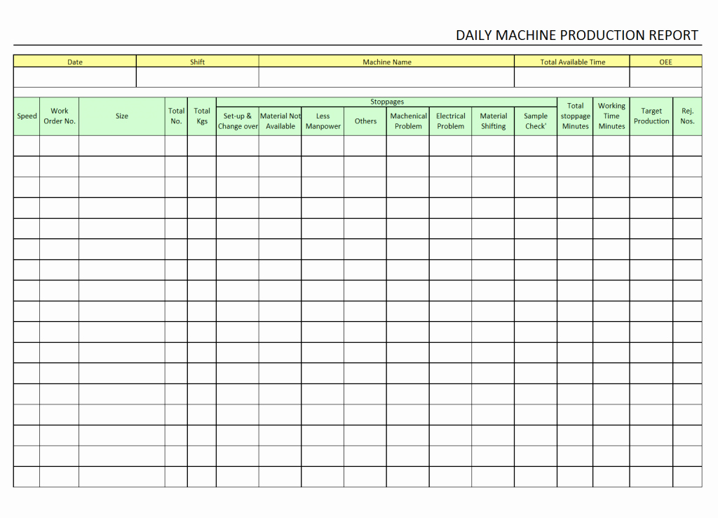Daily Production Report Template Excel Unique Production End Shift Report Template Cost format Pdf