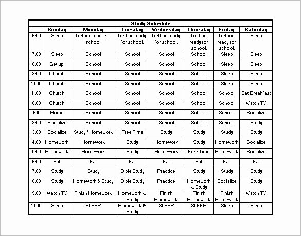 Daily Routine Schedule Template Beautiful 18 Study Schedule Templates Pdf Doc