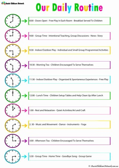 Daily Routine Schedule Template Elegant Daily Room Routine Template Aussie Childcare Network