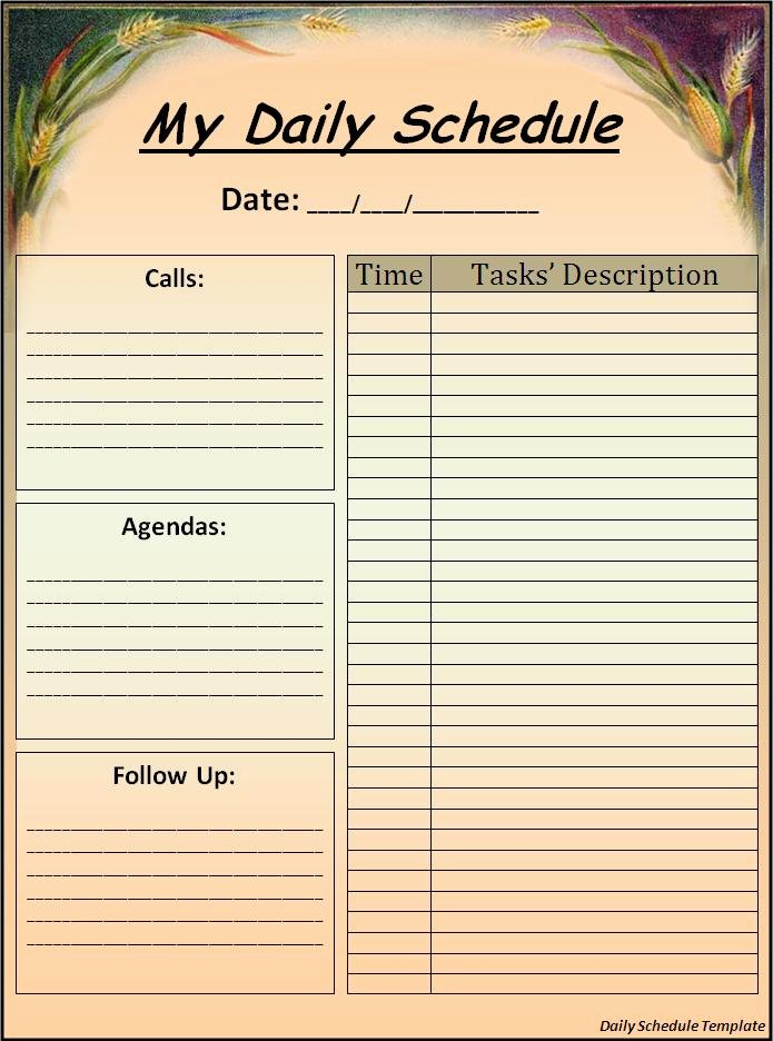 Daily Routine Schedule Template Inspirational Daily Schedule format