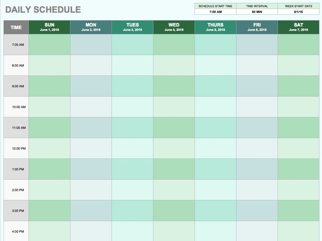 Daily Routine Schedule Template Luxury Free Daily Schedule Templates for Excel Smartsheet