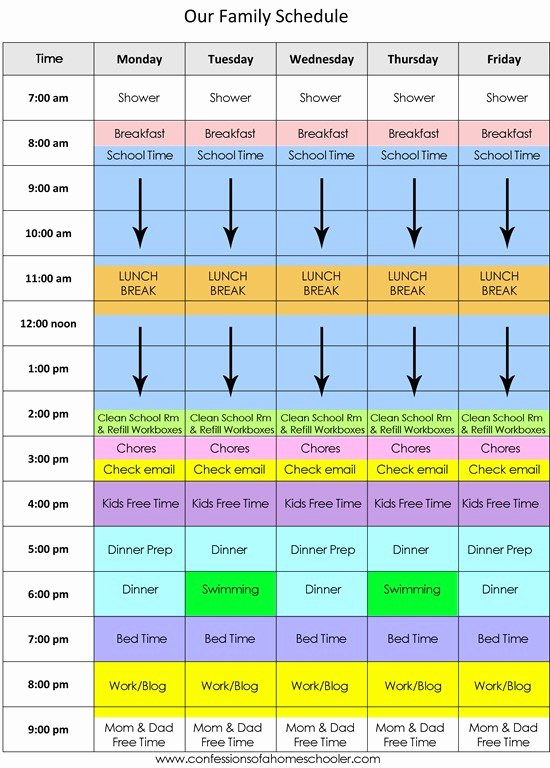 Daily Routine Schedule Template New 9 Family Schedule Templates Doc Pdf