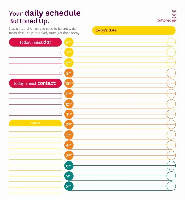 Daily Routine Schedule Template Unique 23 Printable Daily Schedule Templates Pdf Excel Word