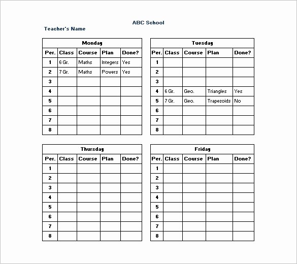 Daily School Schedule Template Awesome 10 Teacher Schedule Templates Doc Excel Pdf