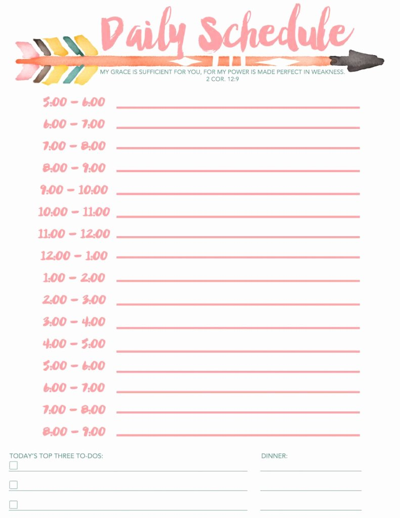 Daily School Schedule Template Awesome Daily Schedule Free Printable