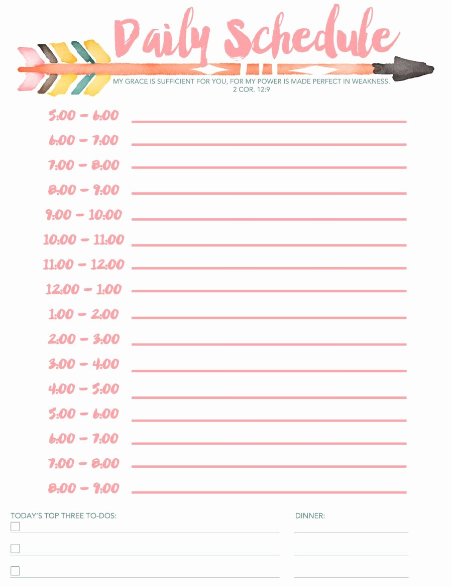 Daily School Schedule Template Beautiful Daily Schedule Free Printable Diy