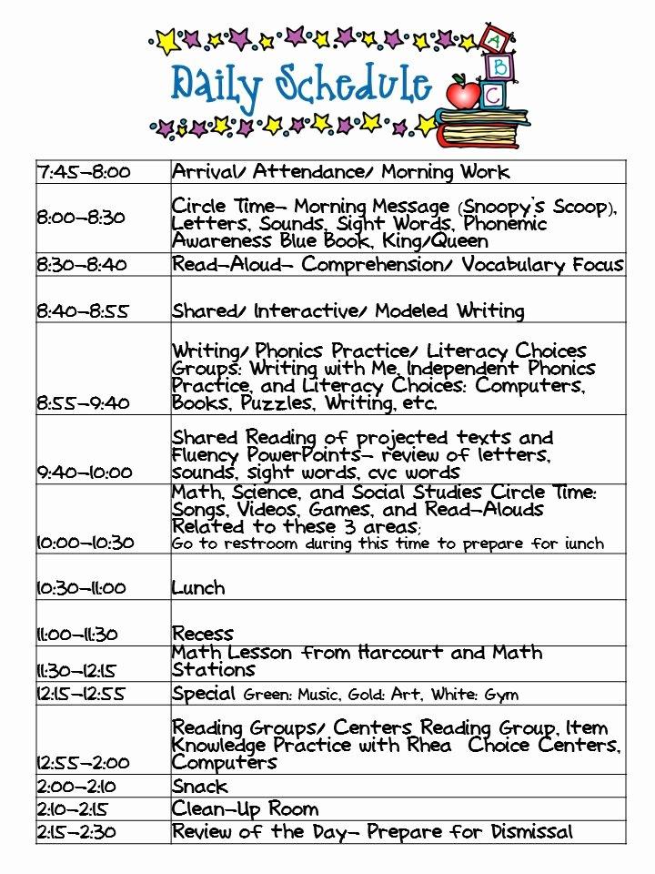 Daily School Schedule Template Beautiful Kindergarten Celebration Daily Schedule