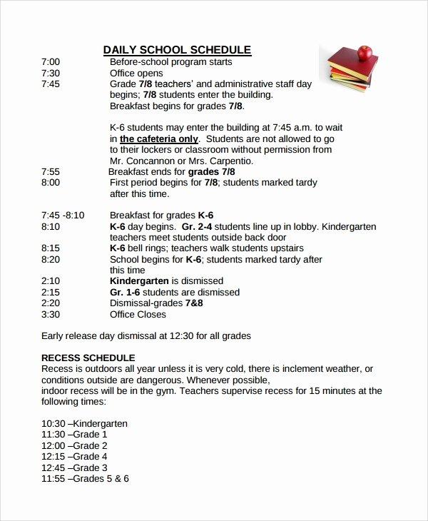 Daily School Schedule Template Beautiful Sample School Schedule Templates 9 Free Documents
