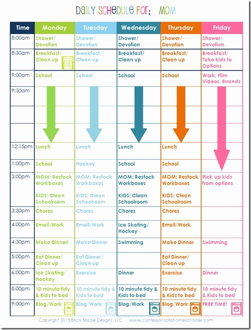 Daily School Schedule Template Elegant A Homeschooling Mom's Daily Schedule Confessions Of A