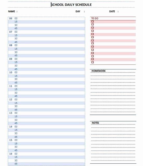 Daily School Schedule Template New Home School Schedule Template Bing
