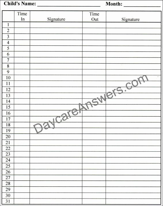 Daily Sign In Sheet for Daycare Luxury Daycare attendance Records