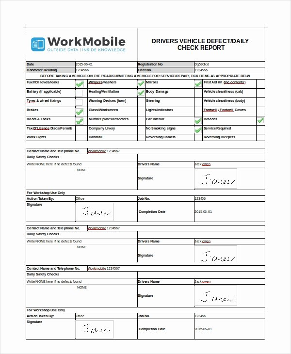 Daily Vehicle Inspection Report Template Beautiful 14 Free Vehicle Report Templates Pdf Docs Word