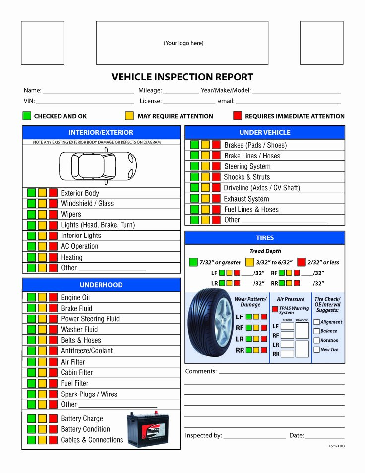 Daily Vehicle Inspection Report Template Unique Free Vehicle Inspection Checklist form