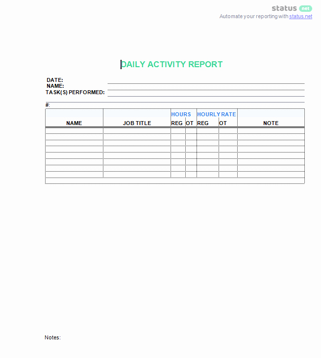 Daily Work Report Template Elegant 3 top Downloads Of A Daily Work Log Template