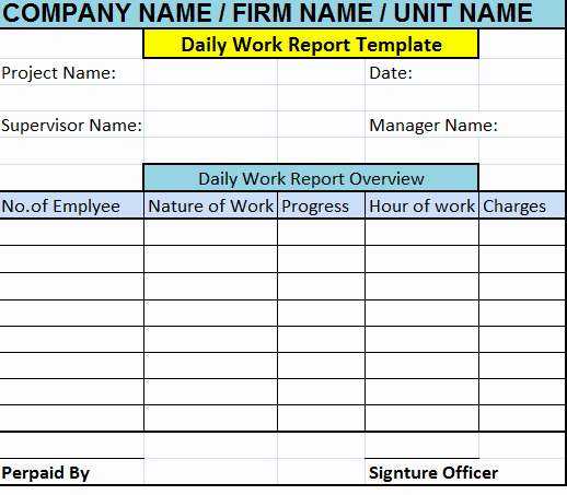 Daily Work Report Template Fresh Daily Work Report Template – Free Report Templates