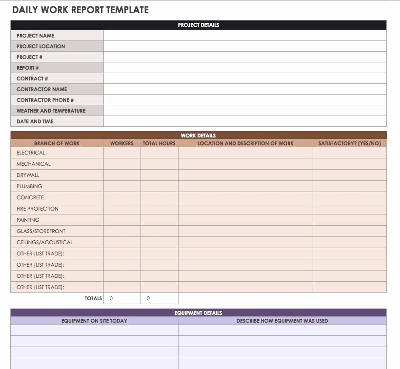 Daily Work Report Template Luxury Construction Daily Reports Templates or software Smartsheet