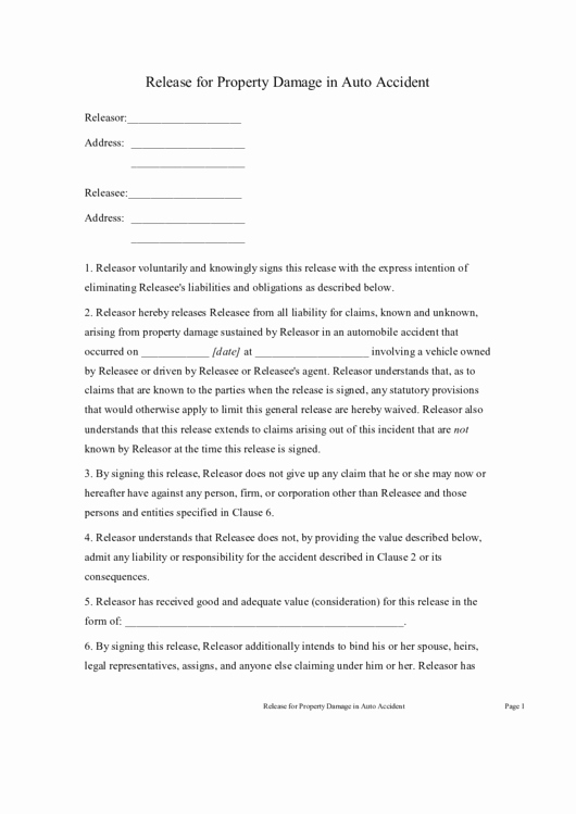 Damage Waiver form Awesome Release for Property Damage In Auto Accident Printable Pdf