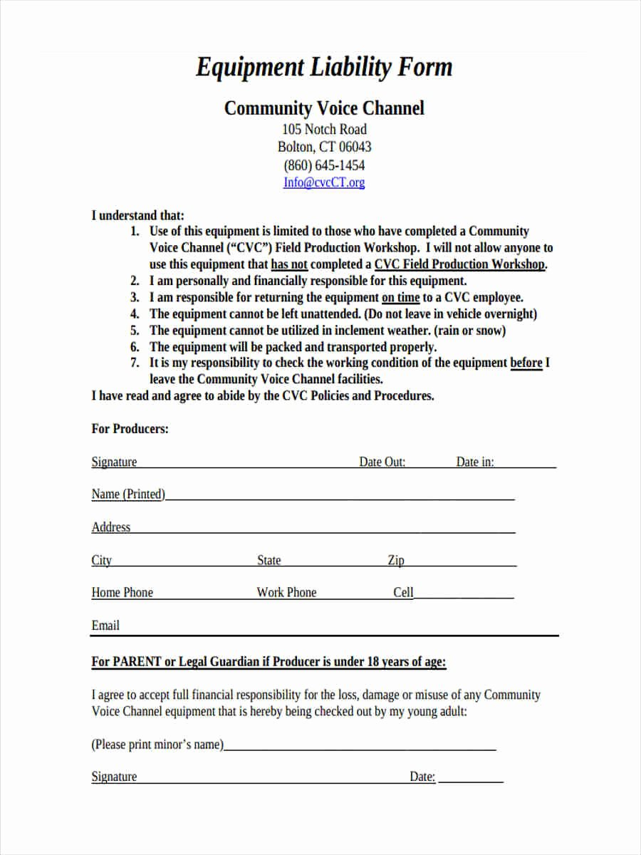 Damage Waiver form Beautiful 6 Equipment Liability form Samples Free Sample Example