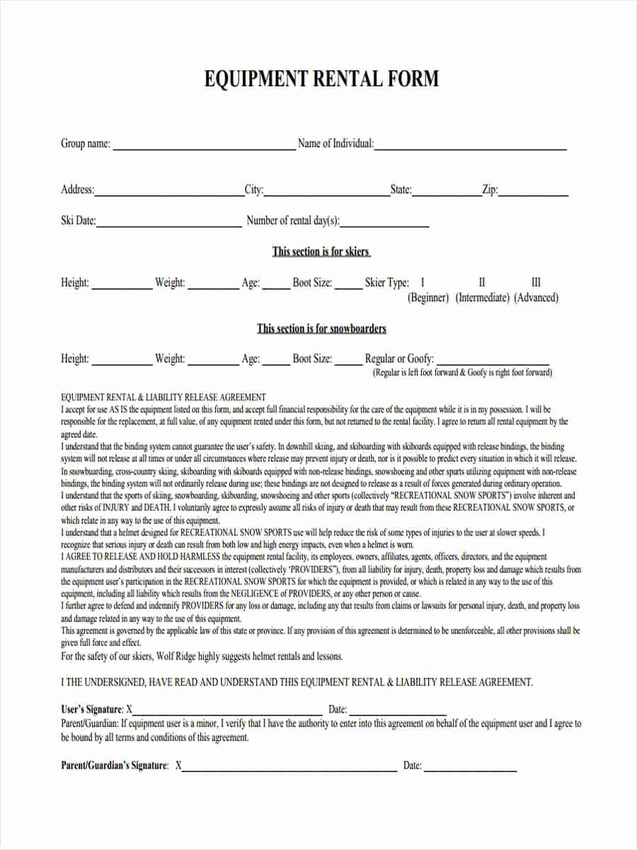Damage Waiver form Fresh 6 Equipment Liability form Samples Free Sample Example