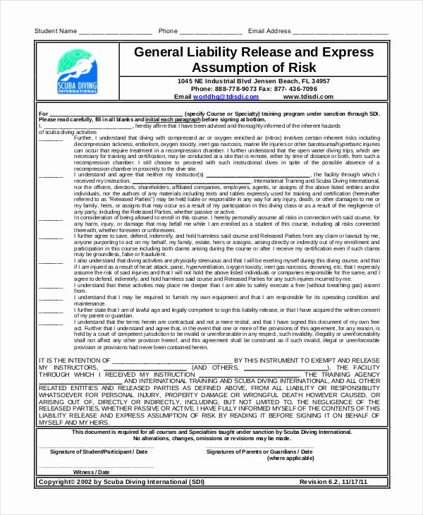 Damage Waiver form Inspirational General Release form Template Property Damage Release form