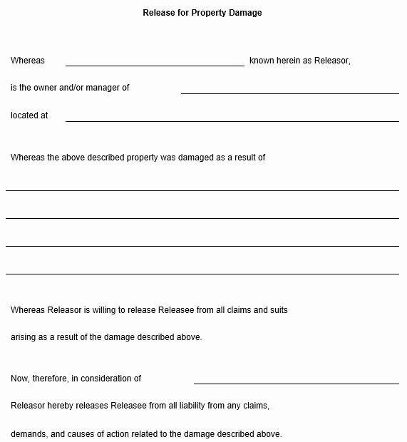 Damage Waiver form Lovely Release for Property Damage Template
