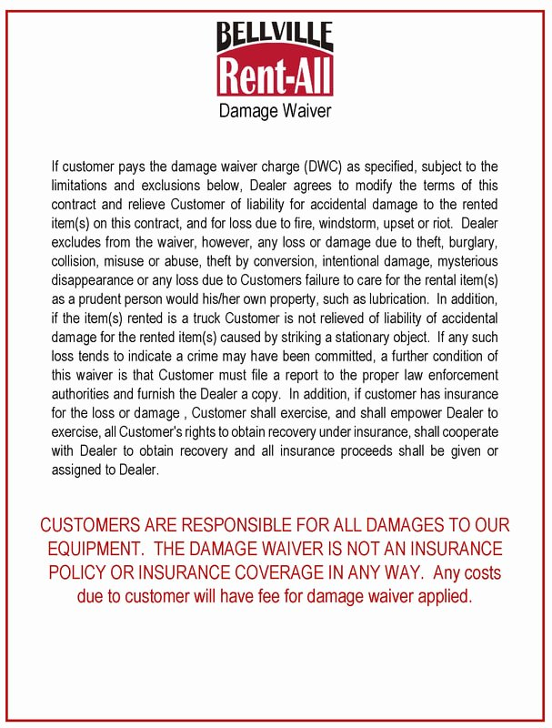 Damage Waiver form New Printable Damage Waiver