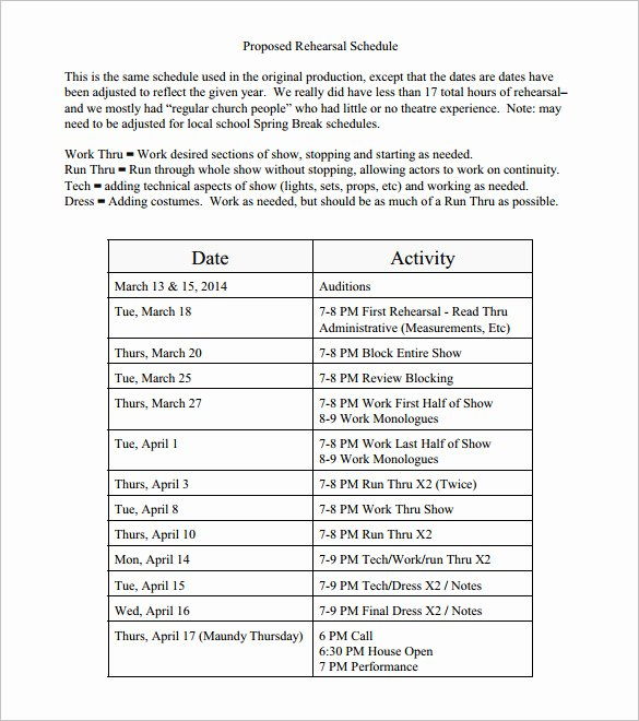Dance Schedule Template Beautiful 13 Rehearsal Schedule Templates Word Excel Pdf