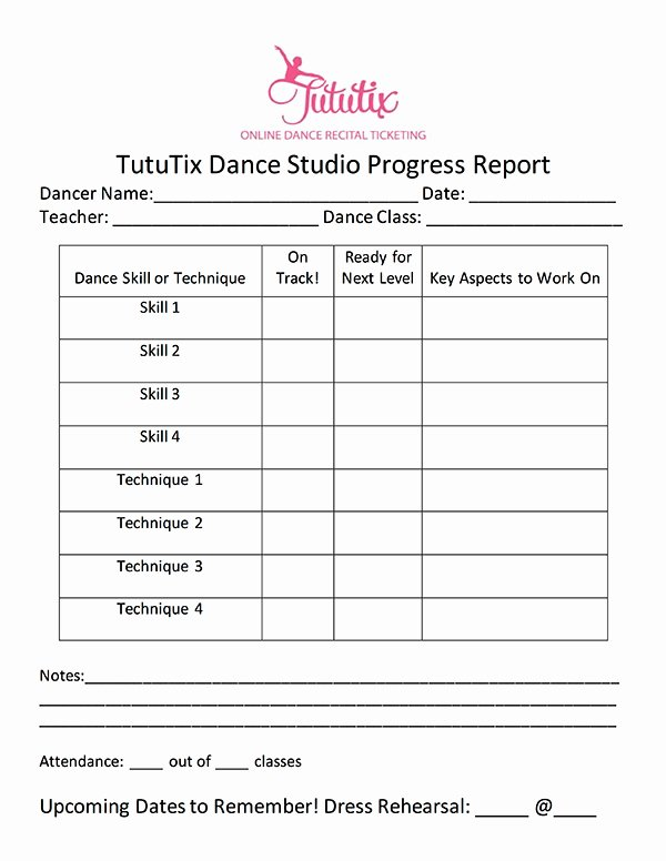 Dance Schedule Template Elegant the Dance Progress Report How to Progress