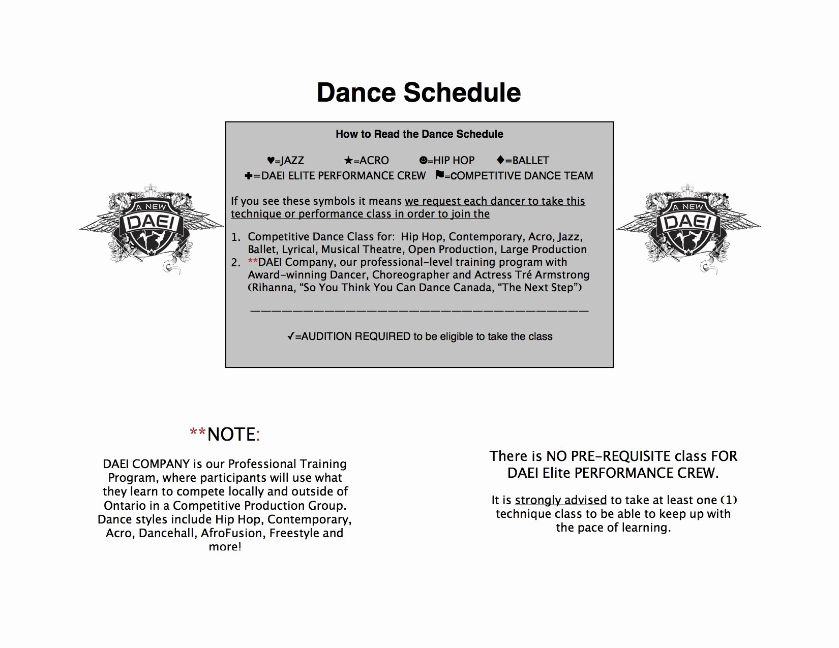 Dance Schedule Template Fresh 2016 2017 Dance Schedule