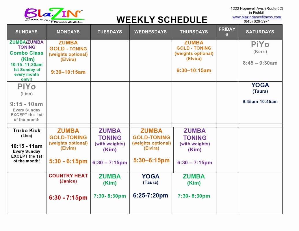 Dance Schedule Template Lovely Weekly Schedule Blazin Dance & Fitness Llc