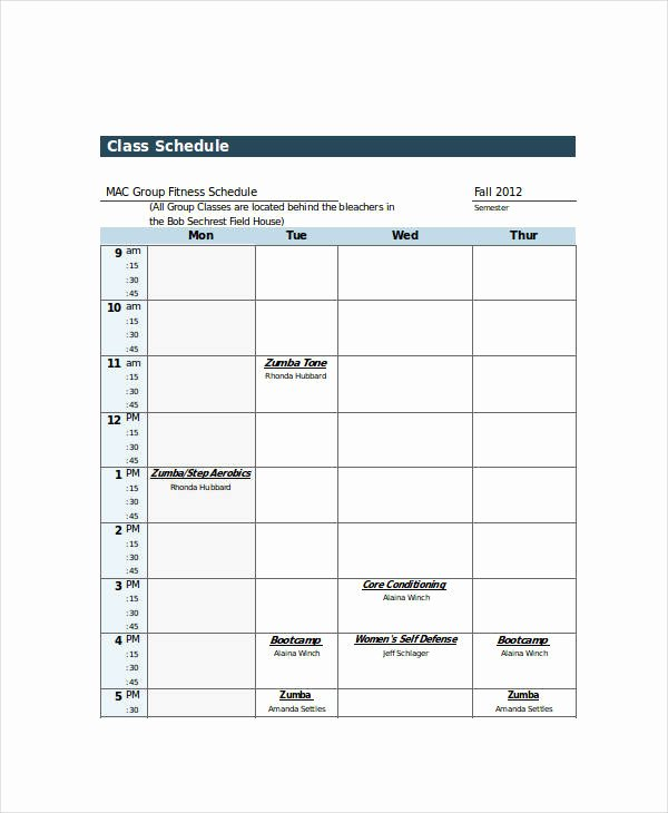Dance Schedule Template New Excel Class Schedule Templates 8 Free Word Excel Pdf