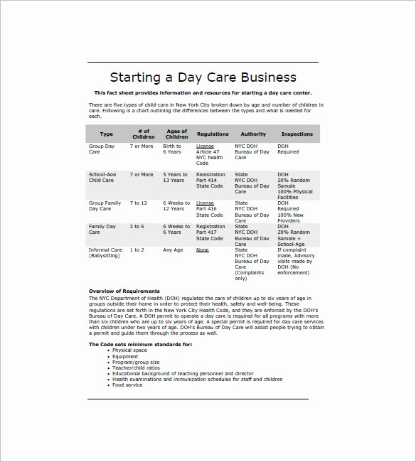 Daycare Business Plan Template Free Download Fresh Daycare Business Plan Template 14 Free Word Excel Pdf