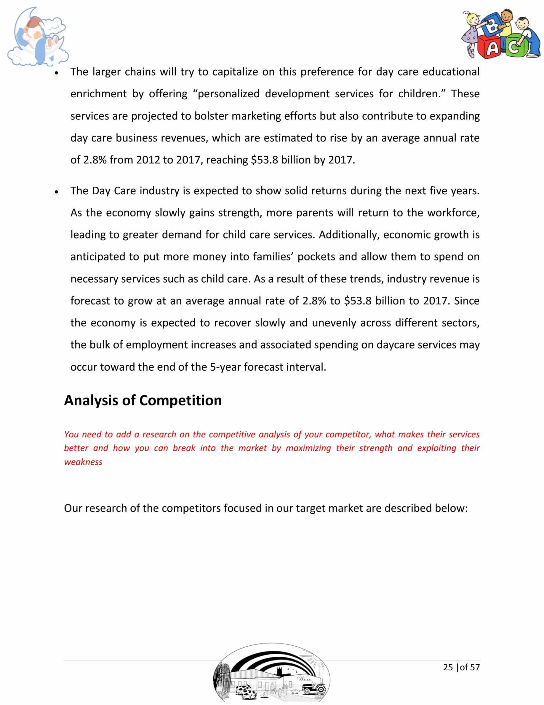 Daycare Business Plan Template Free Download Inspirational Day Care Business Plan Template Sample Pages Black Box